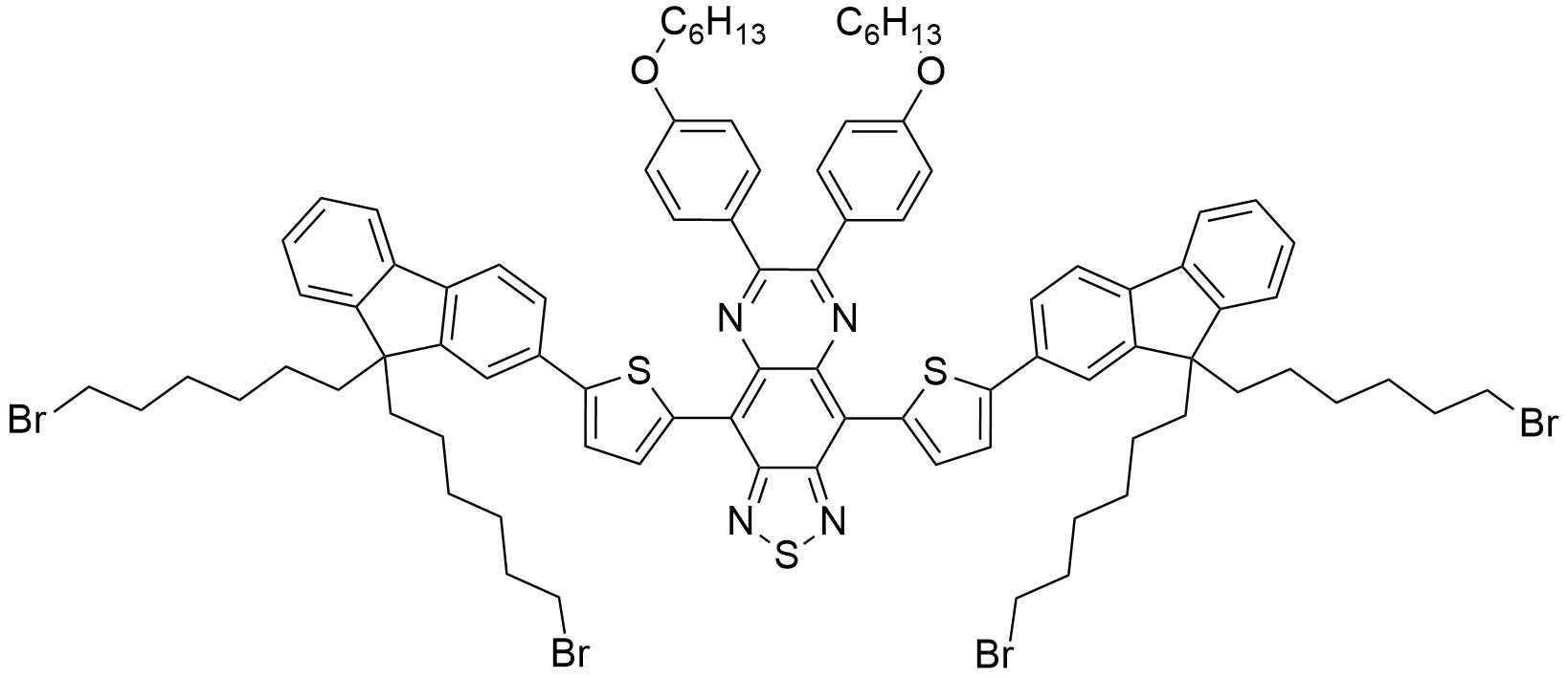 4,9-Bis(5-(9,9-bis(6-bromohexyl)-9H-fluoren-2-yl)thiophen-2-yl)-6,7-bis(4-(hexyloxy)phenyl)-[1,2,5]thiadiazolo[3,4-g]quinoxaline